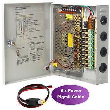 9CH Port Power Supply Box CCTV Camera Distribution PTC Fuse DC12V 10A + Pigtail
