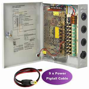 9CH Port Power Supply Box CCTV Camera Distribution PTC Fuse DC12V 10A + Pigtail.