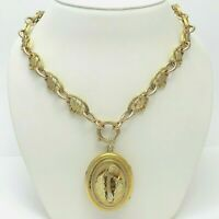 Victorian Gold Filled Quatrefoil Chain Acorn Mourning Locket Pendant Necklace 18