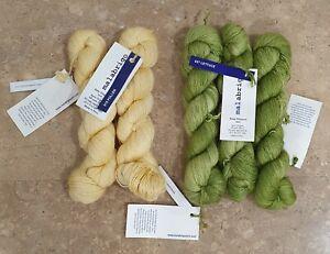 5 Skeins Malabrigo Baby Silkpaca lace Alpaca Silk Yarn - 2x Pollen 3x Lettuce