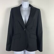 Ann Taylor Womens Blazer Sz 4 Black Pinstripe Occasion Work Party Wool Q38