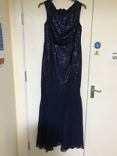 Sequin Full Length Dress No Sleeves Navy Blue Brand New With Tags Size 16 Dress
