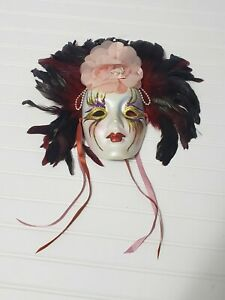 Vintage Rare Clay Art Musical Mask with Feathers