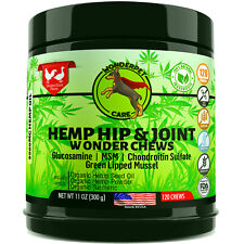 Hemp Hip & Joint Supplement for Dogs Msm Glucosamine Chondroitin 120 Chews