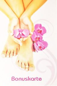 50 Bonuskarten Punktekarte Treuekarten Hand mit Orchidee