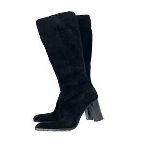 Apostrophe Size 8.5M Black Suede Leather Women Boots