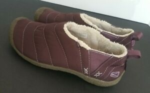 Womens Brown Keen Cush Howser fabric slip on lined quilted clogs Size 9M