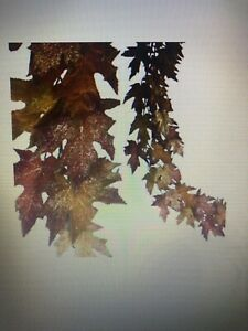 Autumn Fall Thanksgiving Raz Imports glittered maple leaf garland