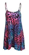 LADIES LONG CAMISOLE STRAPPY SWING DRESS MULTI PRINT SLEEVELESS VEST TOP 8 - 26