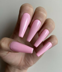 Hand Painted False Press On Nails Plain Baby Pink Long Tapered Coffin High Shine