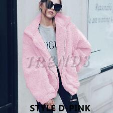 UK Womens Teddy Bear Oversized Pea Coat Ladies Borg Zip Faux Fur Jacket Size6-18