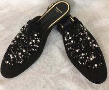 Lanvin Slide Shoe Flat Black Suede Pearls And Rhinestones And Beads Size 40 New