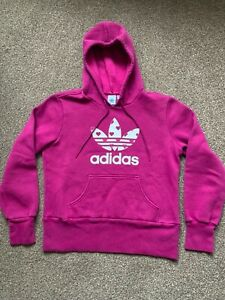 Vintage Retro Adidas hoodie Sweatshirt Top cerise pink white ~ 3 Lines ~ Hearts