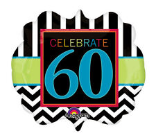 "25"" Black Chevron Strip CELEBRATE 60 Sixtieth Birthday Party Balloon"