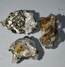 $158 -25 Carat Gold Ore Lot Of 3 Specimens Quartz!