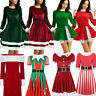Women Vintage Christmas Swing Dress Fancy Costume Party Skater Dress Velvet Gown