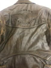 Harley Davidson Billings Brown Leather Jacket Size Medium M Distressed 98133-94