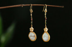 D13 Earrings Gold Plated Tassel With Baroque Pearl And Colorful Tourmaline