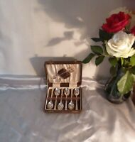 Vintage 1940's Silver Plated Teaspoons and Sugar Tongs in Original Box