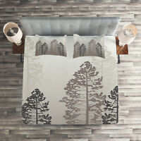 Gray Quilted Coverlet & Pillow Shams Set, Wild Pine Forest Themed Print