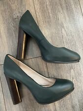 Fe señoras de cuero genuino Verde Oscuro Tacón Zapatos Talla 7