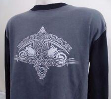 Harley-Davidson T-Shirt Men's Medium M Black Gray Long Sleeve Tee E626