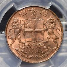 British India 1858 1/4 Anna Lion animal PCGS MS65RB rare this grade SW-3.78 PC07