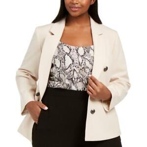 Bar III Womens Beige Faux Double-Brested Blazer Jacket Plus 1X BHFO 3335