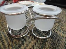 PartyLite Gemini Unity silver holder frosted glass candle holders