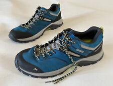 Mens QUECHUA Waterproof Walking Hiking Shoes Size UK8 EU42 in Teal Blue