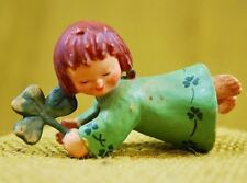 """ANRI FERRANDIZ WOOD CARVING SMALL 2.5"""" FIGURE GREEN CLOVER GIRL St. Patricks Day"""