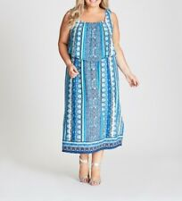 Plus Sz Autograph Blue Border Printed Jersey Flounce Paisley Maxi Dress Size 24
