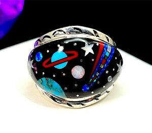 ARTISAN SIGNED S* STERLING SILVER MICRO INLAY STONE CELESTIAL ZODIAC RING SZ 10