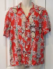 The Beach Boys Designs By Sherry Holt Hawaiian Shirt red bamboo vine print M