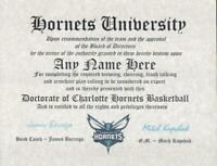 Charlotte Hornets  ~ CERTIFICATE ~ DIPLOMA ~  MAN CAVE ~Hornets FAN~