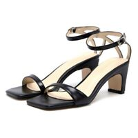 Fashion Women's Ankle Strap Block Mid Heels Open Toe Leather Sandals Shoes 4.5-8