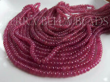 """8"""" AAA PINK SAPPHIRE smooth polished precious gem stone rondelle beads 3mm - 5mm"""