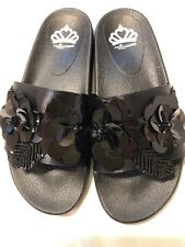 **Fergalicious Flame Embellished Slide Sandals, Women's Size 9M Black NEW