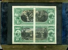 $50-$100-$500-$1000 NATIONAL CURRENCY FIRST CHARTER PROOF 1875 N.C. REVERSE
