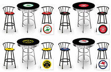 Bar Table Set Vintage Gas Theme 3-pc Black Decal Table w/ Black Decal Stools