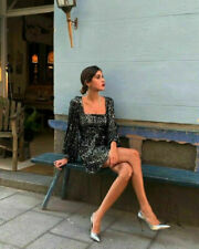 NEW ZARA BLACK SEQUIN SHORT DRESS, TIE BELT, SIZE SMALL