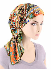 The Bella Scarf Pre-Tied Chemo Cancer Turban Green Coral Tribal Patchwork