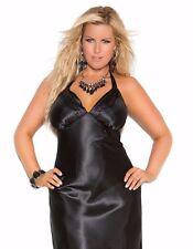Women Plus Long Nightgown 1X Black Charmeuse Satin Halter Lingerie Nightie Sexy