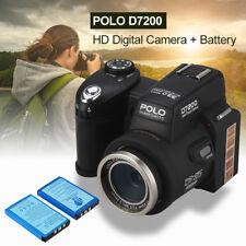 POLO D7200 FHD HD 1080P Digital Camera Camcorder&3X Lens&Sportlight&2X Battery