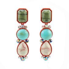 Crystal Bead Leaf Flower Pendant Statement Drop Earrings for Women Ball Dangle