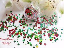 UNGHIE grosso * Holly * natale verde stella rossa cuore Hexagon Glitter Spangle MIX Pot