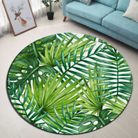 Watercolor Tropical Palm Leaf Yoga Mat Rugs Floor Bathmat Round Non-slip Carpet