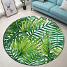 Watercolor Tropical Palm Leaf Yoga Mat Rugs Floor Bathmat Round Non-slip Carpet