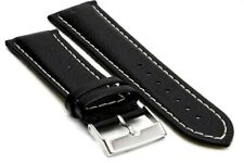 24 mm. XL French Leather Strap with Steel Regular Buckle - Black