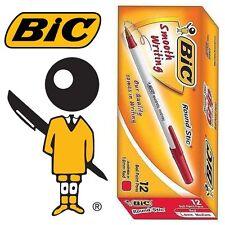 BIC Round Stic® MEDIUM 1.0 mm white barrel ball point pen (12 PCS) - RED